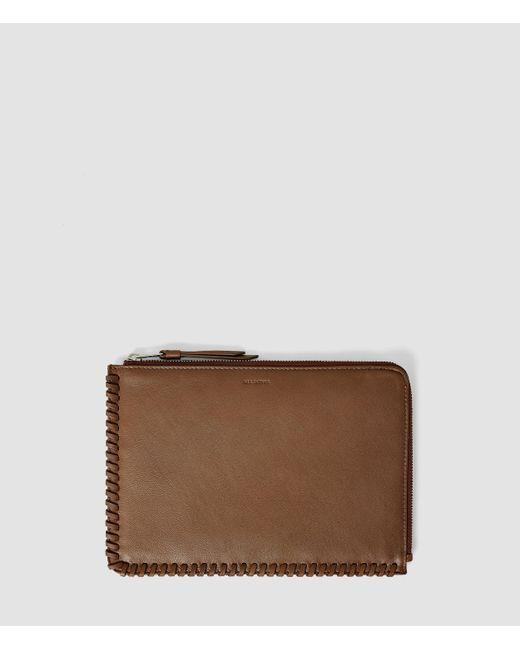AllSaints | Brown Fleur De Lis Medium Leather Pouch | Lyst