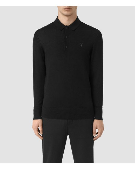 AllSaints | Black Mode Merino Polo Shirt for Men | Lyst