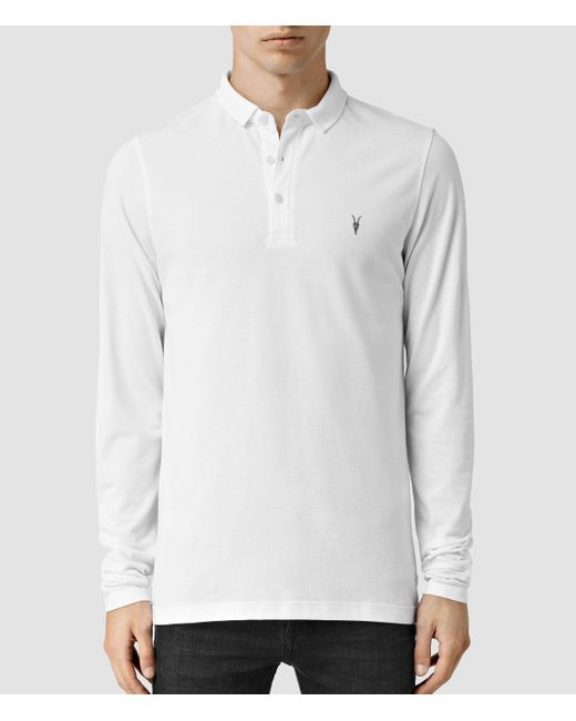 AllSaints | White Reform Long Sleeved Polo Shirt Usa Usa for Men | Lyst