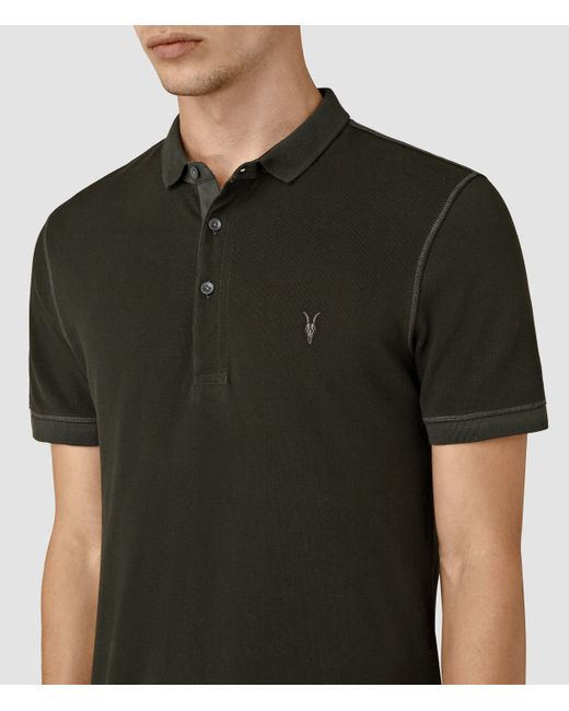 Allsaints Reform Polo Shirt In Multicolour For Men Lichen