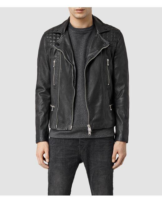 AllSaints   Black Rowley Leather Biker Jacket for Men   Lyst