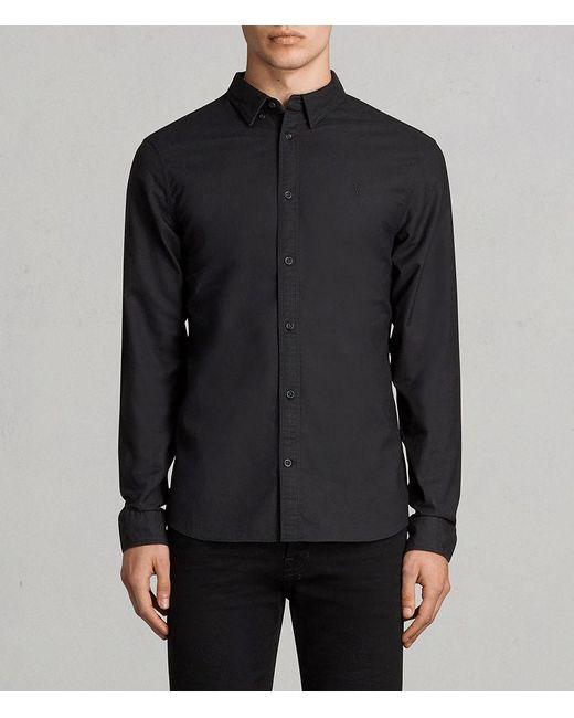 AllSaints - Black Huntingdon Slim Fit Button-down Shirt for Men - Lyst