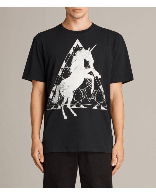 AllSaints | Black Unicorn Crew T-shirt for Men | Lyst