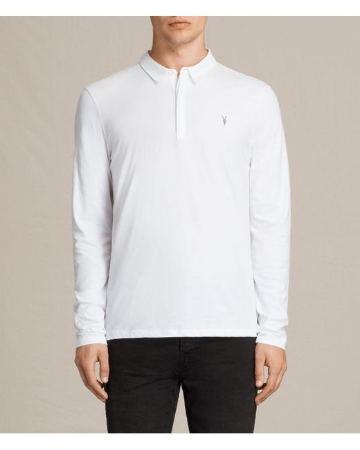AllSaints | White Brace Long Sleeve Polo Shirt for Men | Lyst