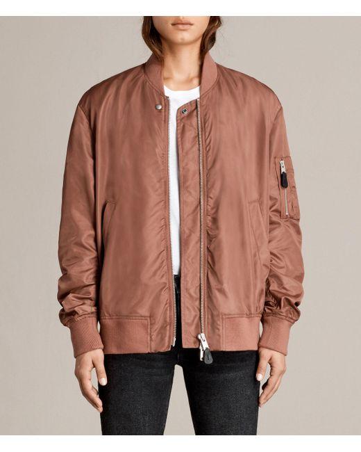 AllSaints | Brown Myra Bomber Jacket | Lyst