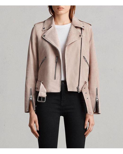 AllSaints - Pink Suede Balfern Biker Jacket - Lyst