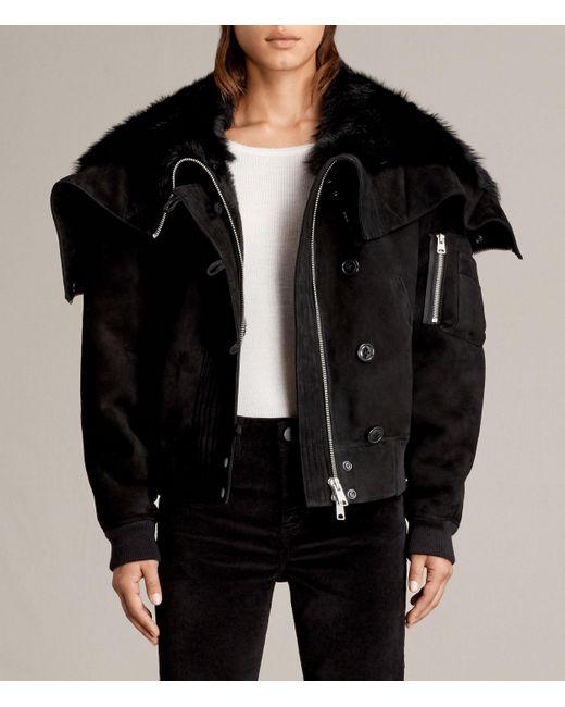 AllSaints | Black Trux Shearling Bomber Jacket | Lyst