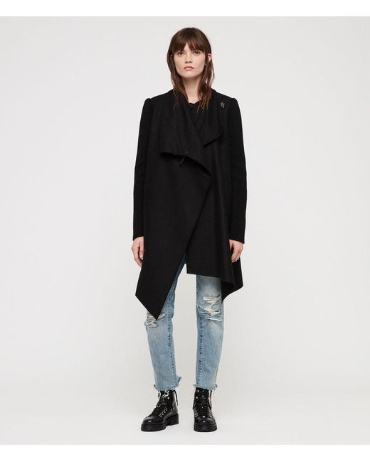AllSaints - Black Monument Rib Coat - Lyst