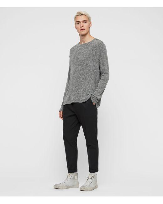 AllSaints Gray Falcon Long Sleeve Crew T-shirt for men