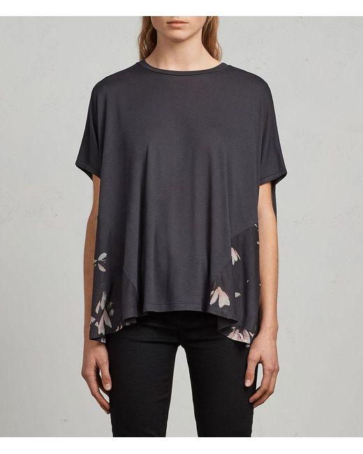 AllSaints - Black Magnolia Elena T-shirt - Lyst