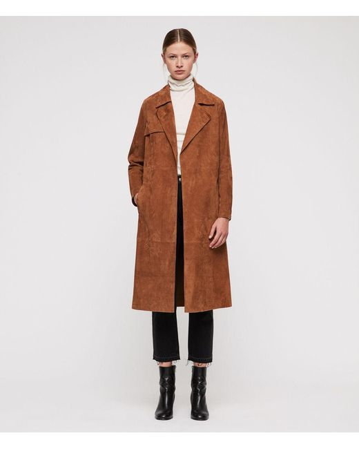 AllSaints - Brown Ember Leather Trench Coat - Lyst