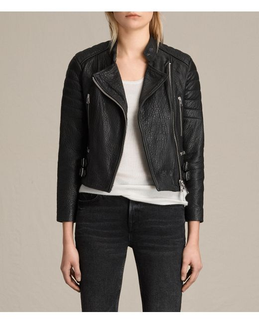 AllSaints | Black Silsden Leather Biker Jacket | Lyst
