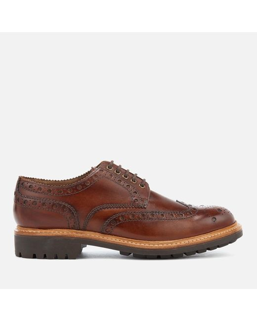 GRENSON - Brown Men's Archie Hand Painted Leather Commando Sole Brogues for Men - Lyst
