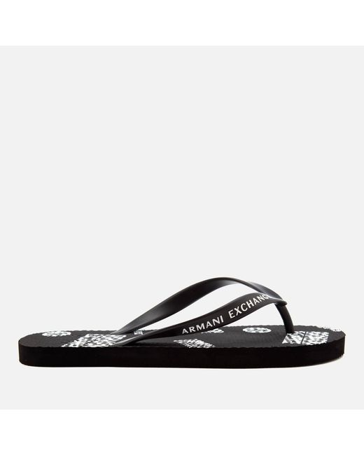 ad3ffd7e1fda ... Armani Exchange - Black Ax Flip Flops for Men - Lyst ...