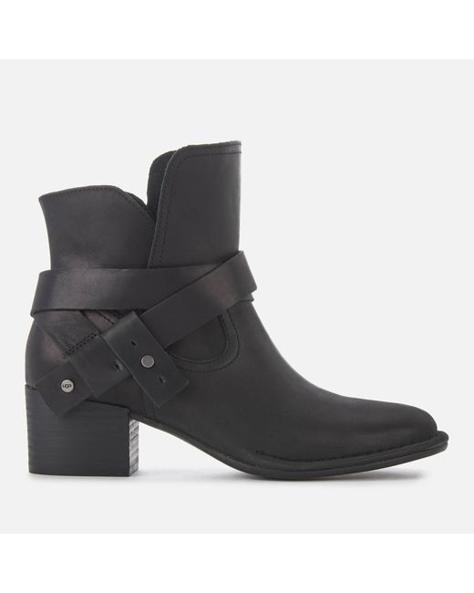 Ugg - Black Elysian Leather Heeled Ankle Boots - Lyst