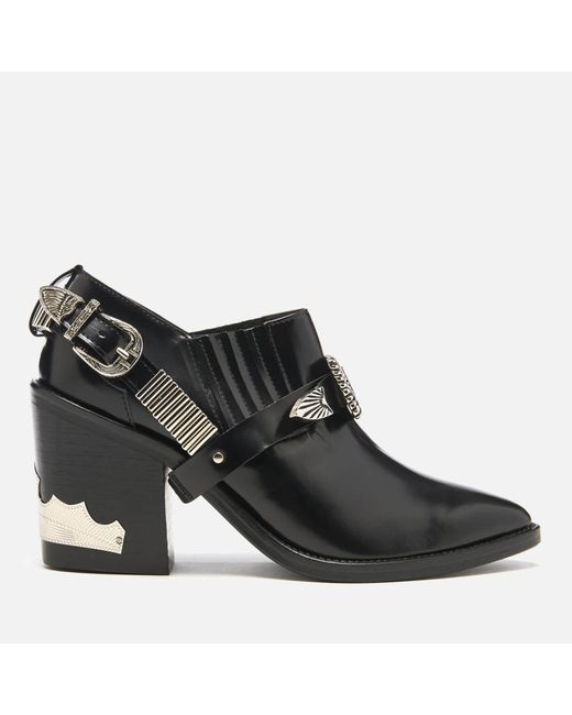 Toga Pulla - Black Leather Heeled Shoe Boots - Lyst