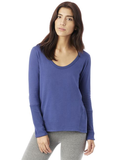 Alternative Apparel   Blue Rib Sleeve Satin Jersey T-shirt   Lyst