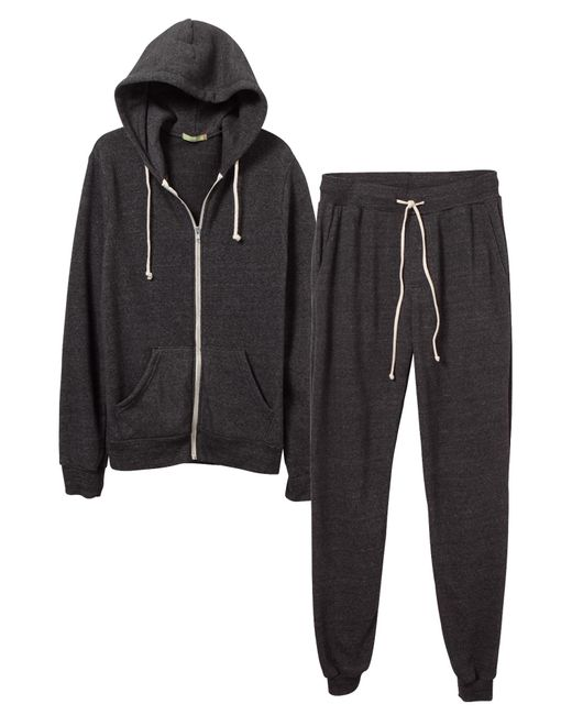 Alternative Apparel | Black Warm-up Suit Hoodie And Pants 2-pk Bundle | Lyst