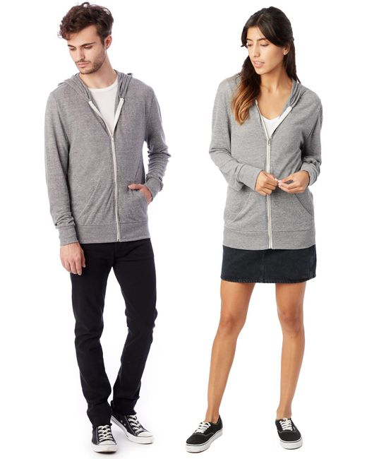 Alternative Apparel - Gray Basic Eco-jersey Zip Hoodie for Men - Lyst