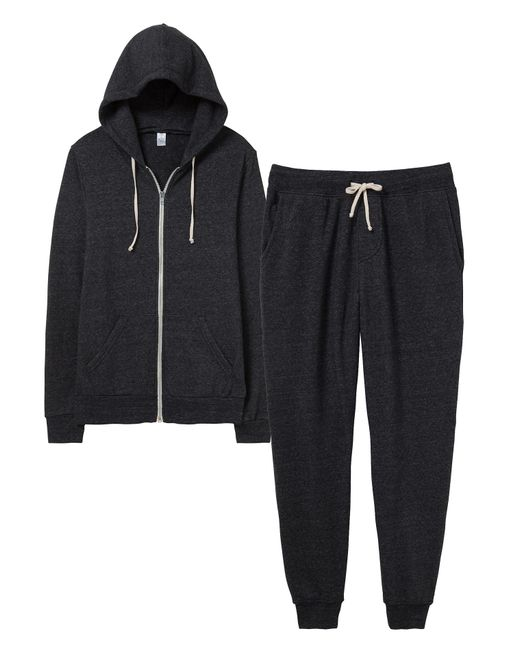 Alternative Apparel | Black Warm-up Suit Hoodie And Pants 2-pk Bundle | Lyst