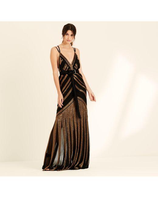 Amanda Wakeley - Bronze & Black Liquid Beading Long Dress - Lyst