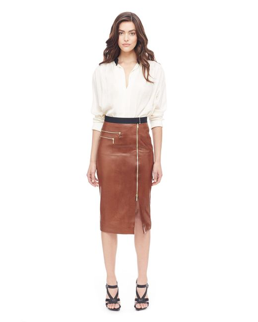 Amanda wakeley North Shore Tan Leather Skirt in Brown | Lyst