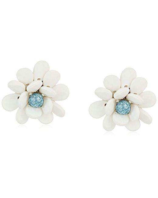Betsey Johnson - Blue La La Flower Button Stud Earrings - Lyst