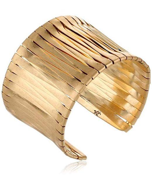 Kenneth Cole - Metallic Gold-tone Woven Cuff Bracelet - Lyst