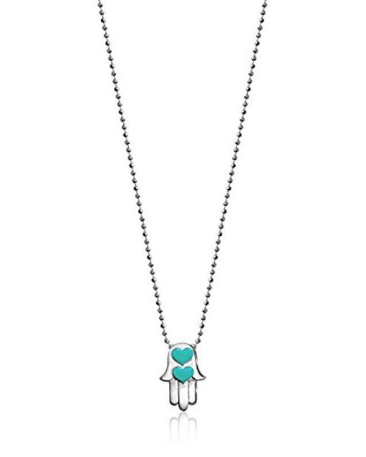 Alex Woo - Metallic Little Faith Hamsa Hand With Turquoise Enamel Pendant Necklace, Size: 16 - Lyst