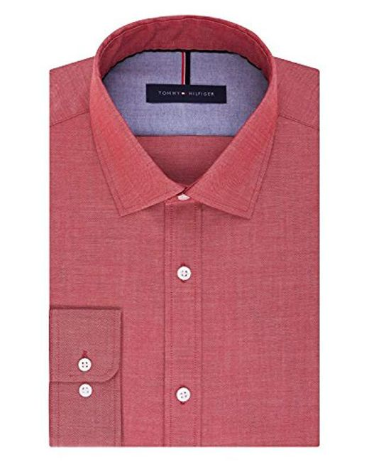 4e93069c4fb1 Tommy Hilfiger - Pink Dress Shirts Non Iron Slim Fit Solid Spread Collar for  Men ...