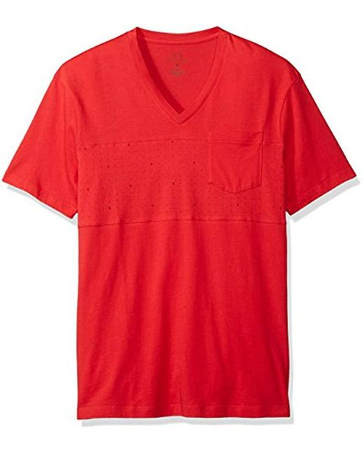Armani Exchange - Red | X Micro Print Short Sleeve V Neck Tee for Men - Lyst