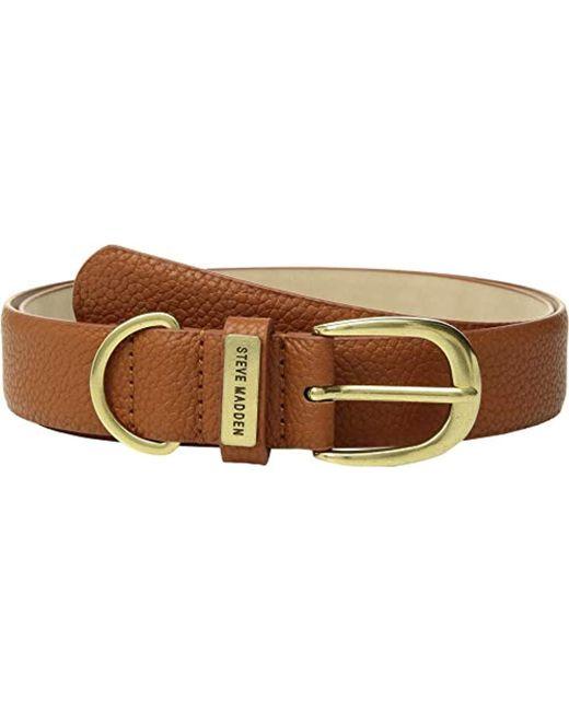 Steve Madden - Brown Pebbled Belt With Brushed Metal Buckle - Lyst