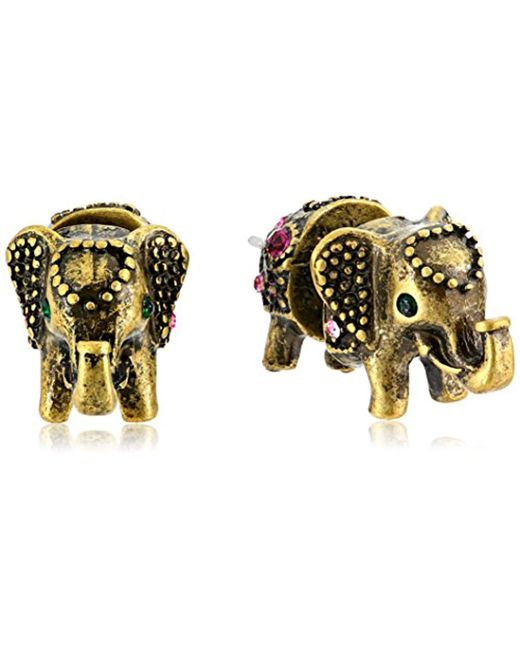 "Betsey Johnson - Multicolor ""bj's Agerie"" Elephant Front And Back Stud Earrings - Lyst"