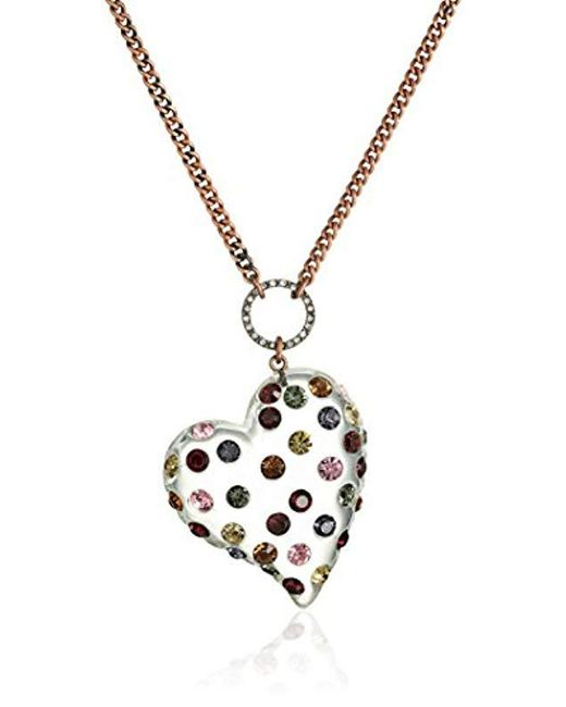 "Betsey Johnson - Metallic ""confetti Mixed Multi-colored Stone Lucite Heart Long Pendant Necklace - Lyst"