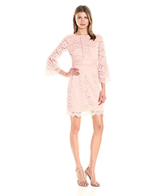 cb604b72c42 Lyst - Vince Camuto Lace Fit And Flare Dress in Pink - Save 8%