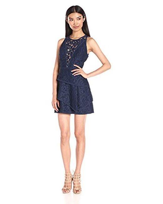 "BCBGMAXAZRIA - Blue Bcbgmax Azria ""hanah"" Sleeveless Lace Cocktail Dress - Lyst"