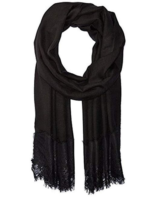 La Fiorentina - Black Lace Trim Evening Wrap - Lyst