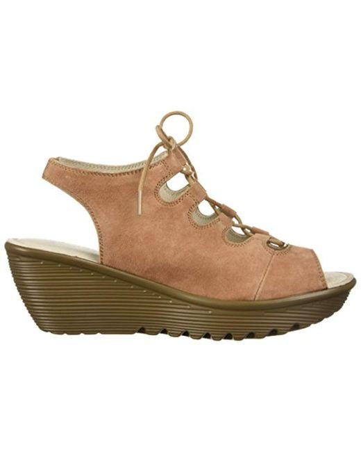 a404c8d552d4 ... Skechers - Brown Parallel Peep Toe Ghillie Slingback Wedge Sandal -  Lyst ...