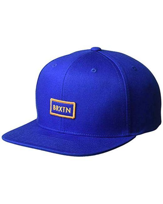 ab40f160180 Brixton - Blue Rift Ii Medium Profile Adjustable Snapback Hat for Men - Lyst  ...