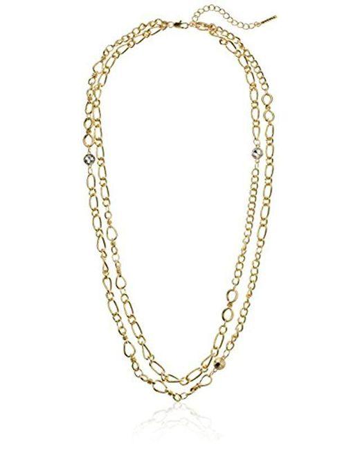 T Tahari - Metallic Double Strand Chain Necklace - Lyst