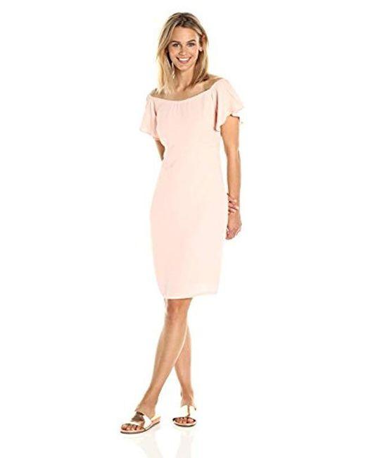 PARIS SUNDAY - Pink Flutter Sleeve Dress - Lyst