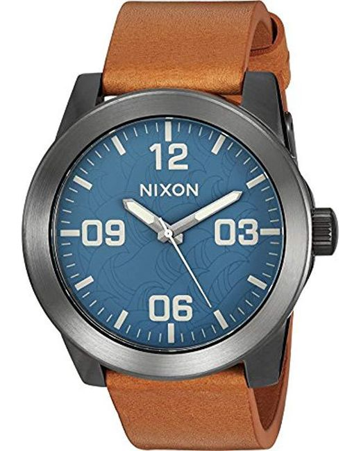 Nixon - Blue Corporal Series Analog Quartz Watch / Leather Or Canvas Band / 100 M Water Resistant And Solid Stainless Steel Case for Men - Lyst