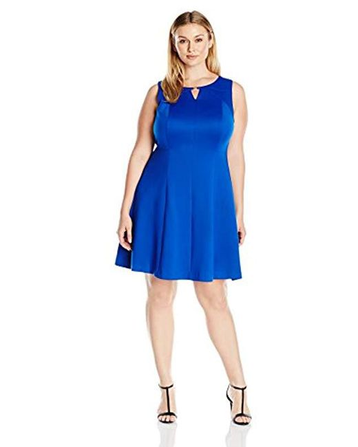 Ellen Tracy - Blue Plus Size Sleeveless Fit And Flare Dress With Kehole At Neckline - Lyst