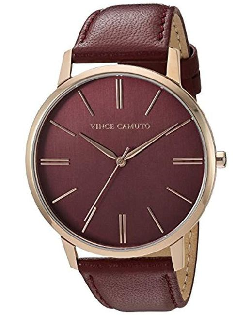 Vince Camuto - Multicolor Vc/5322rgby Burgundy Leather Strap Watch - Lyst