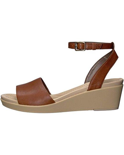 5da486494e35 ... Crocs™ - Brown Leigh-ann Ankle Strap Leather Wedge Sandal - Lyst ...