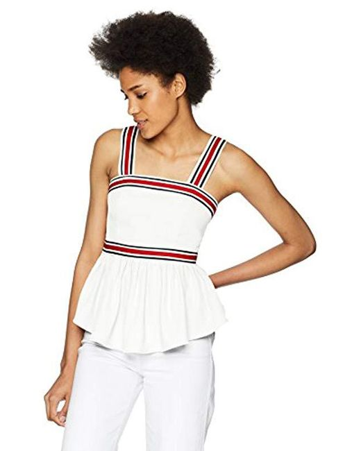 C/meo Collective - White Be Moved Ribbon Strap Detail Sleeveless Peplum Top - Lyst