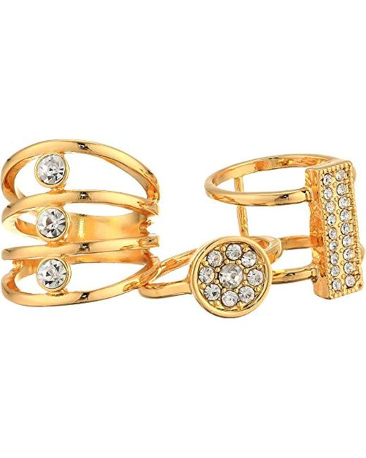 Guess - Metallic S Three-piece Ring Set With Crystal Stones - Lyst