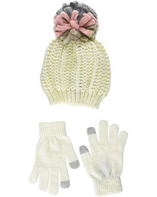 bc07cd608f6c08 Steve Madden - Multicolor Chunky Pom Pom Hat With Etouch Glove Set  (neutral) Knit ...
