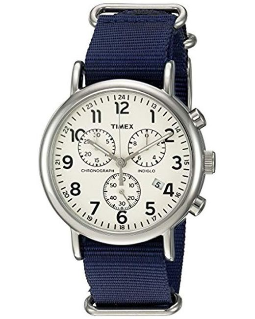 98c87414c Timex - Blue Weekender Chronograph 40mm Watch for Men - Lyst ...