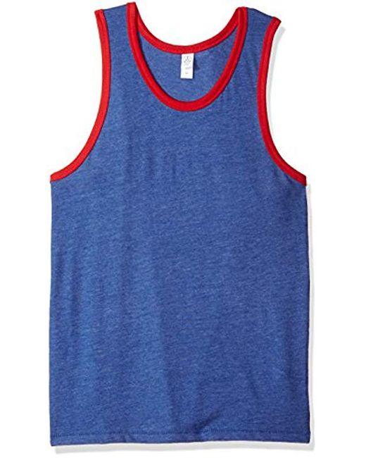 Alternative Apparel - Blue Keeper Vintage Jersey Ringer Tank Top for Men - Lyst